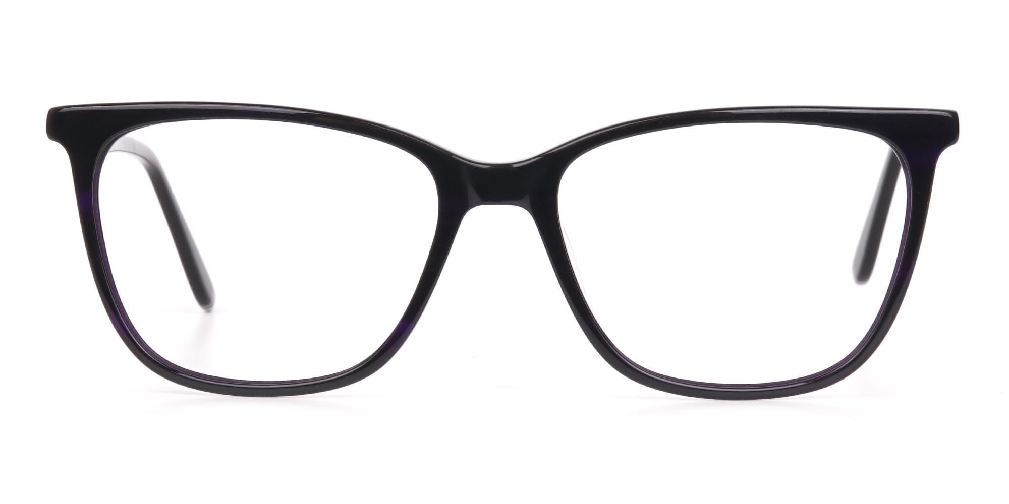 Black Designer Glasses with Purple Stripe Unisex-1