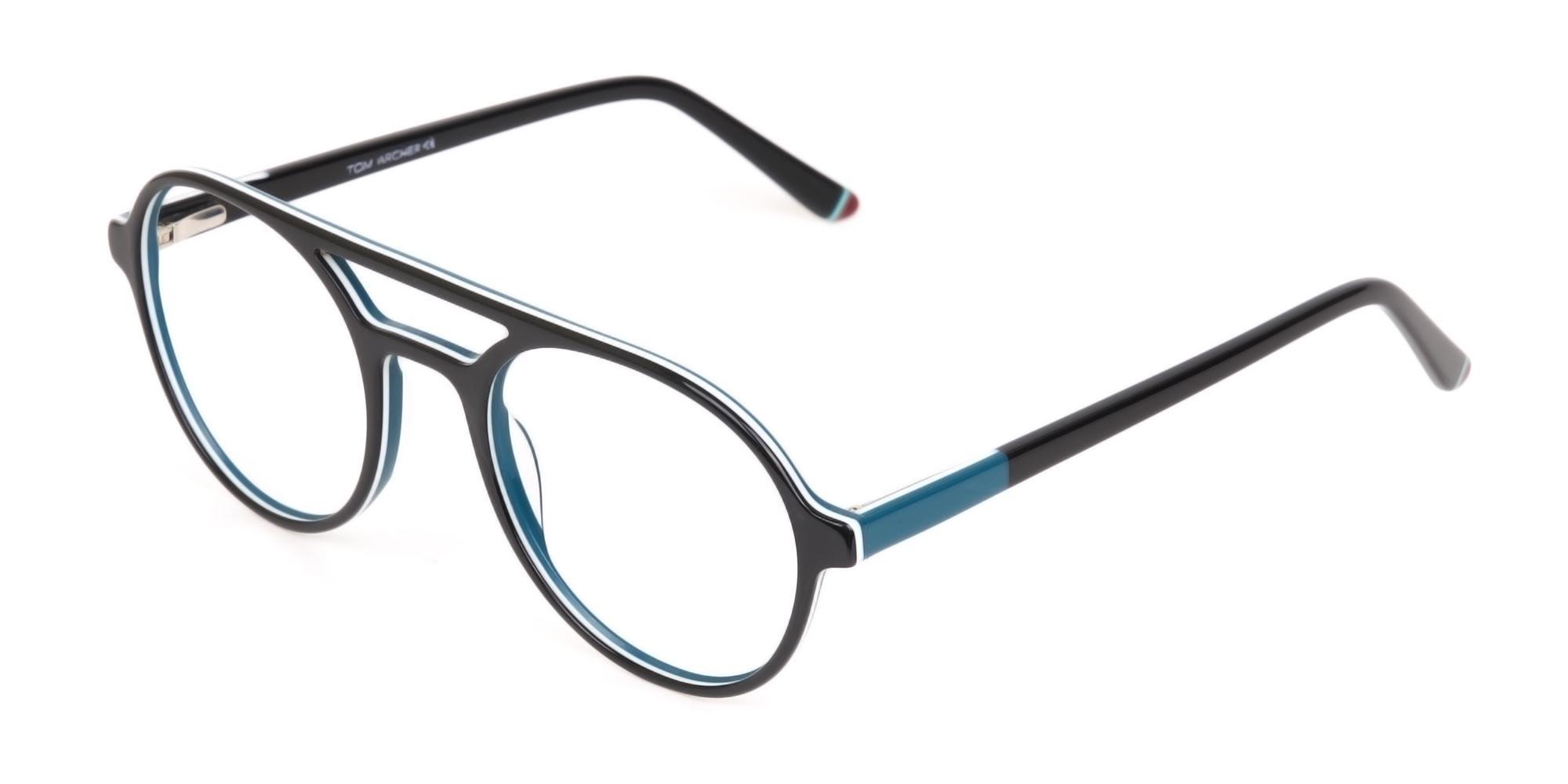 Black & Turquoise Double Bridge Glasses in Round-3