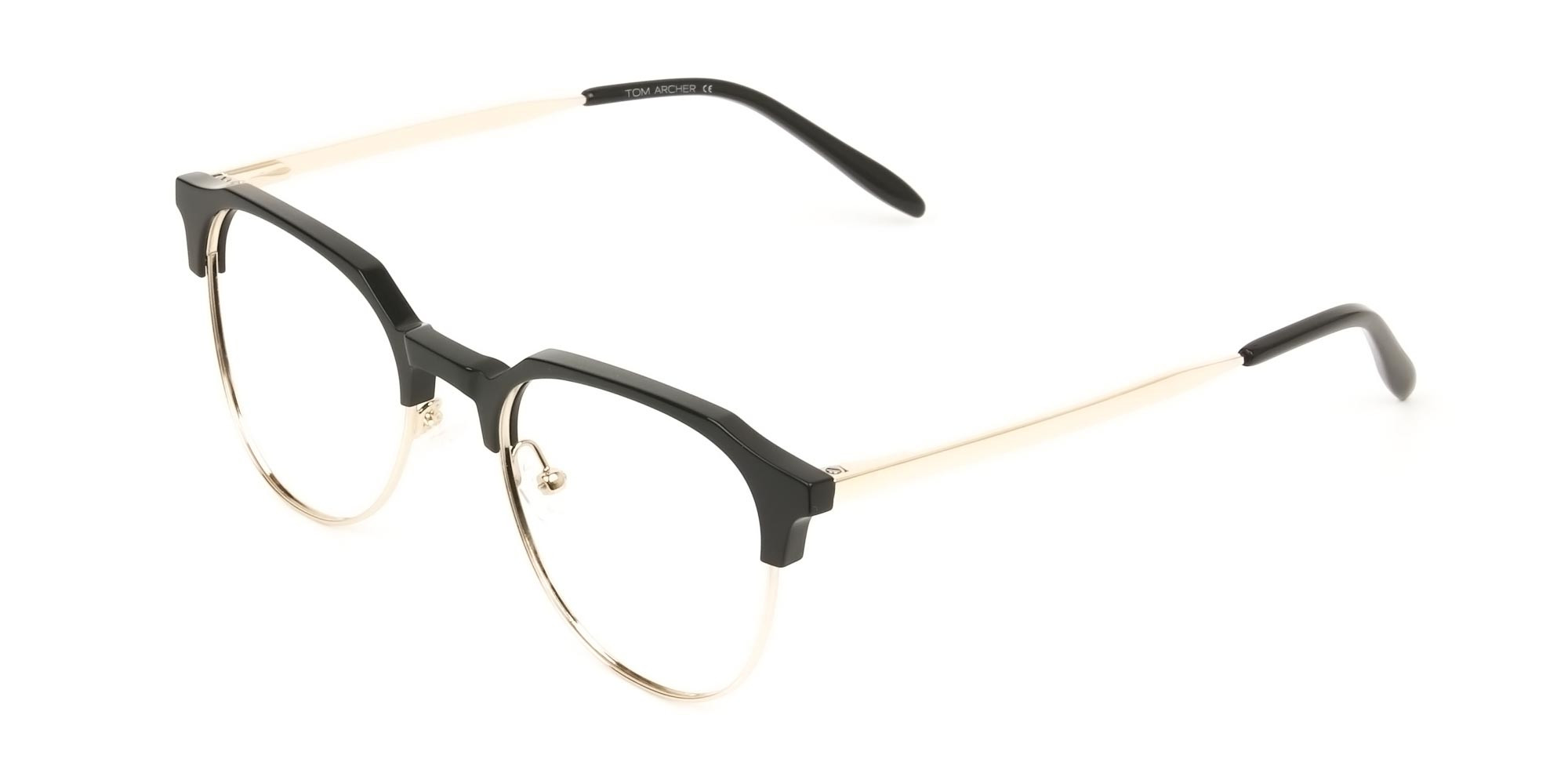 Mixed Material Round Black & Gold Clubmaster Glasses Men's Women's - 3