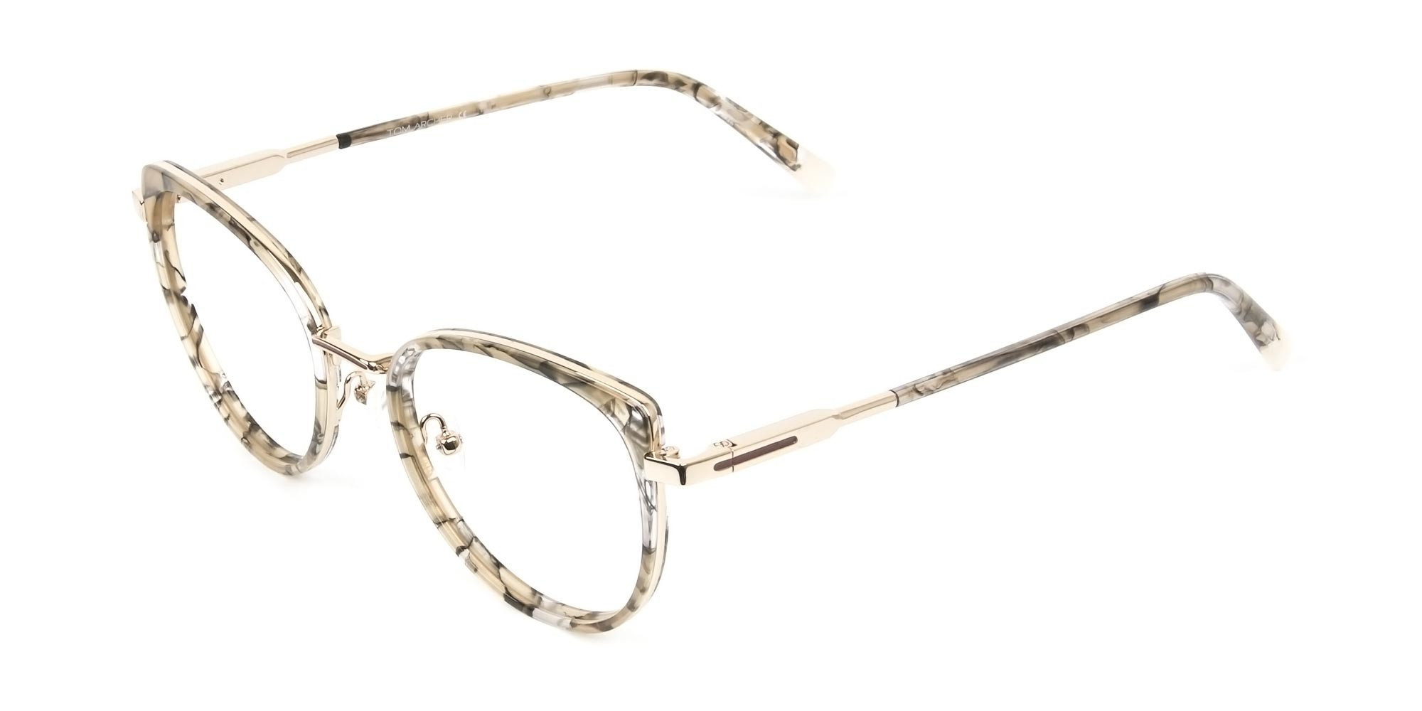 Amber Tortoise Cat-Eye Glasses in Round- 3