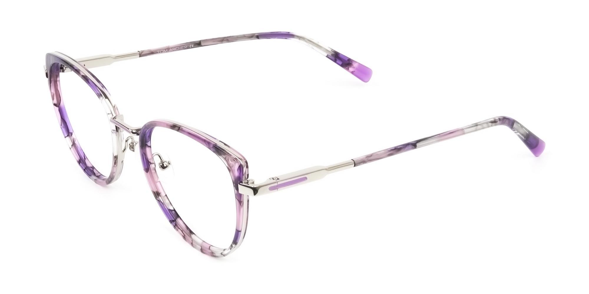 Purple Tortoise Cat-Eye Round Glasses - 2