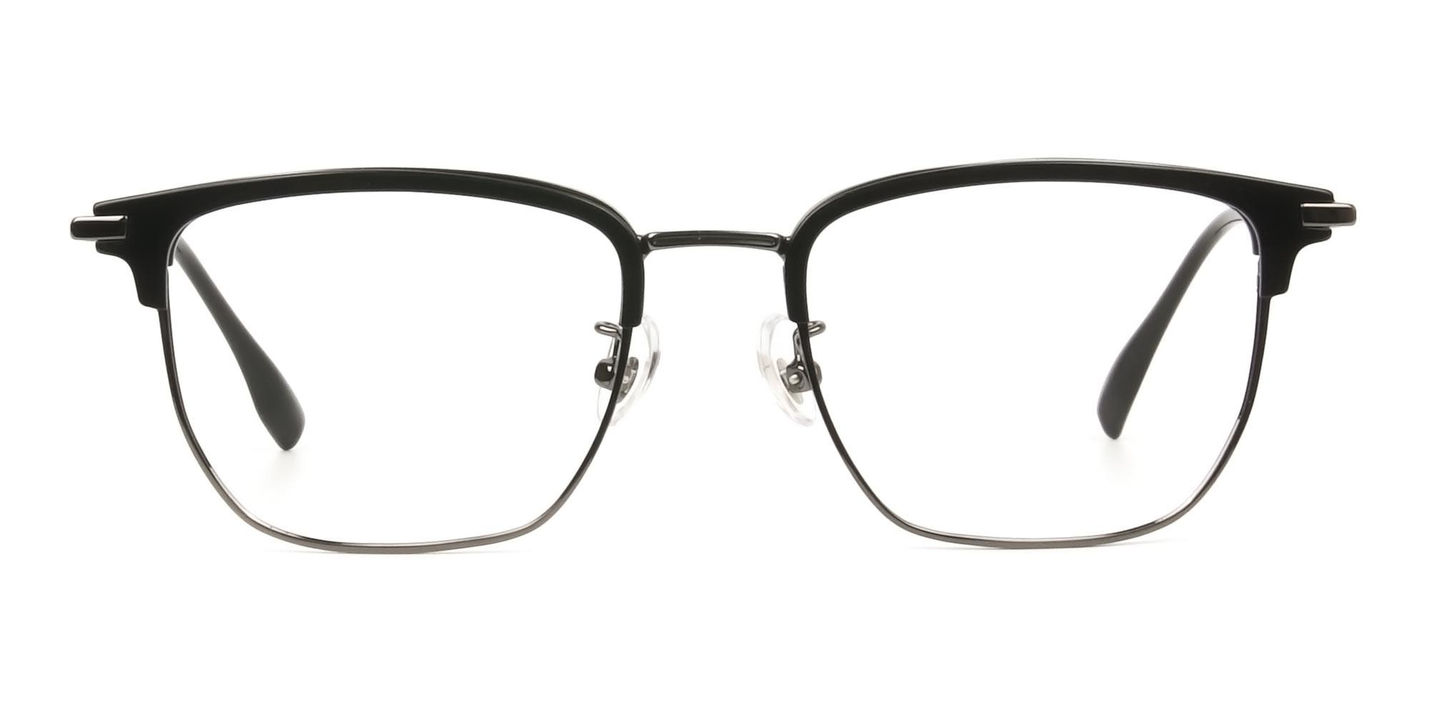 Wayfarer Browline Black & Gunmetal Large Frame Glasses - 1