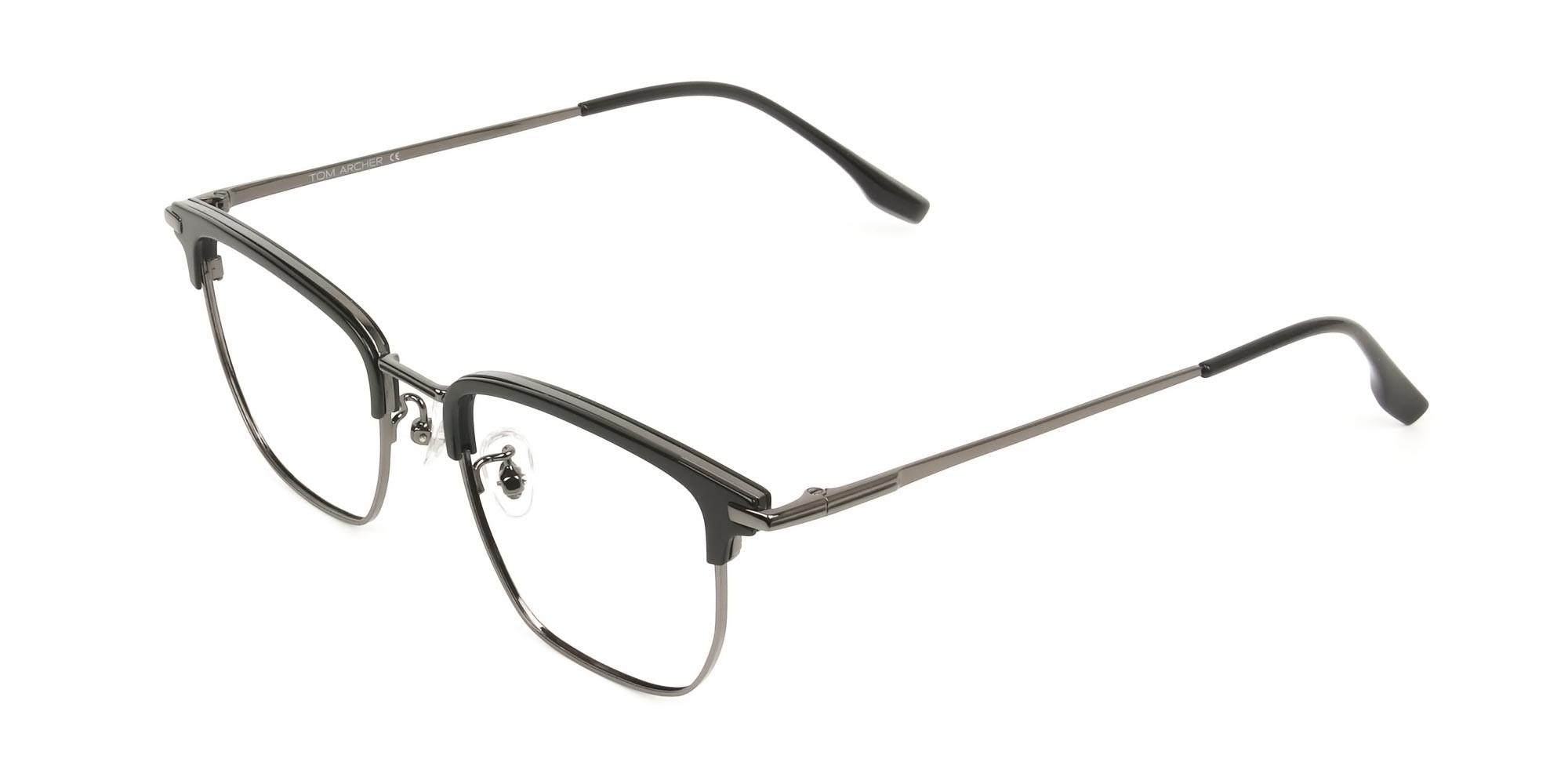 Wayfarer Browline Black & Gunmetal Large Frame Glasses - 3