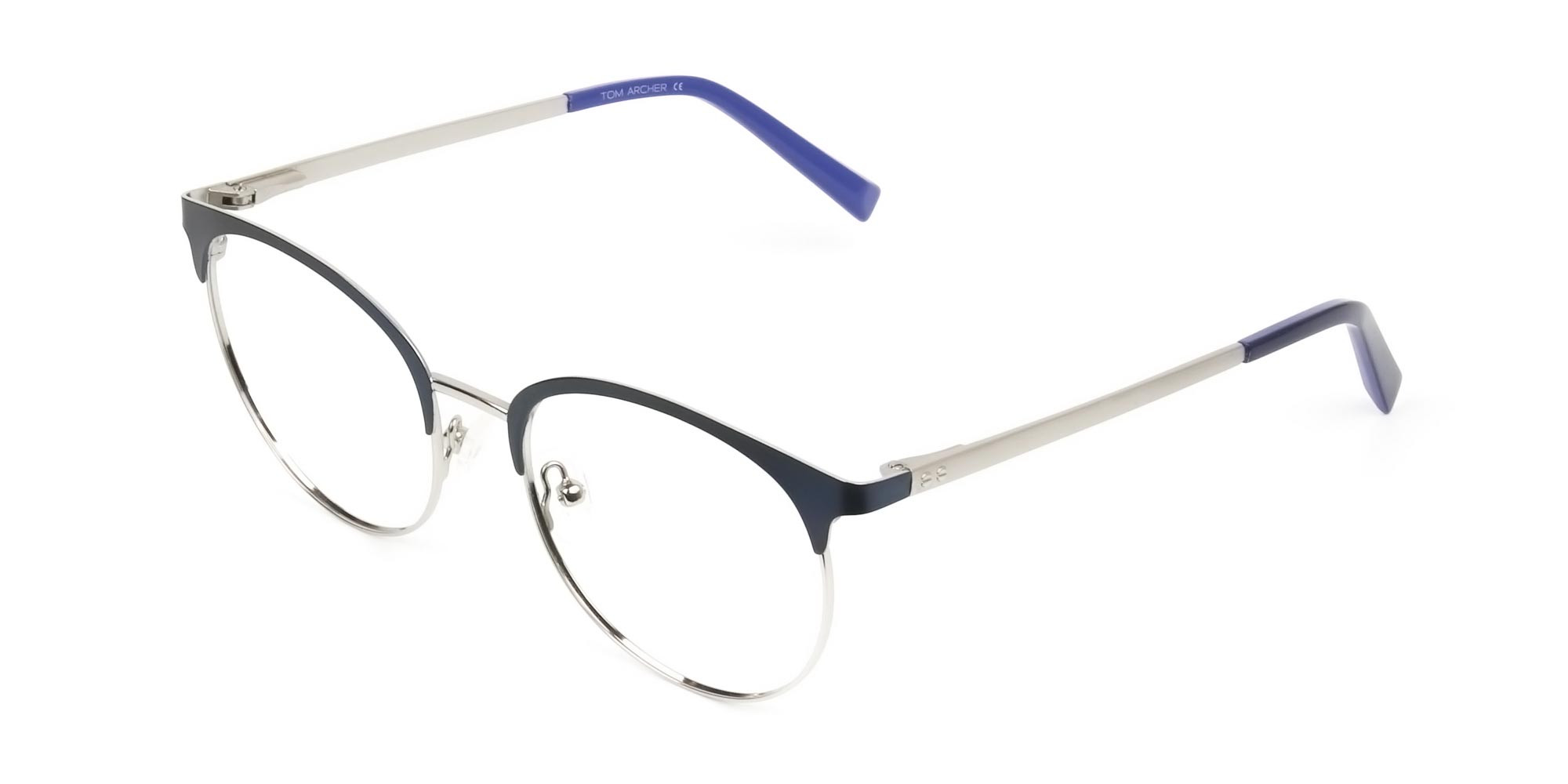 Round Navy Blue Silver Clubmaster Glasses - 3
