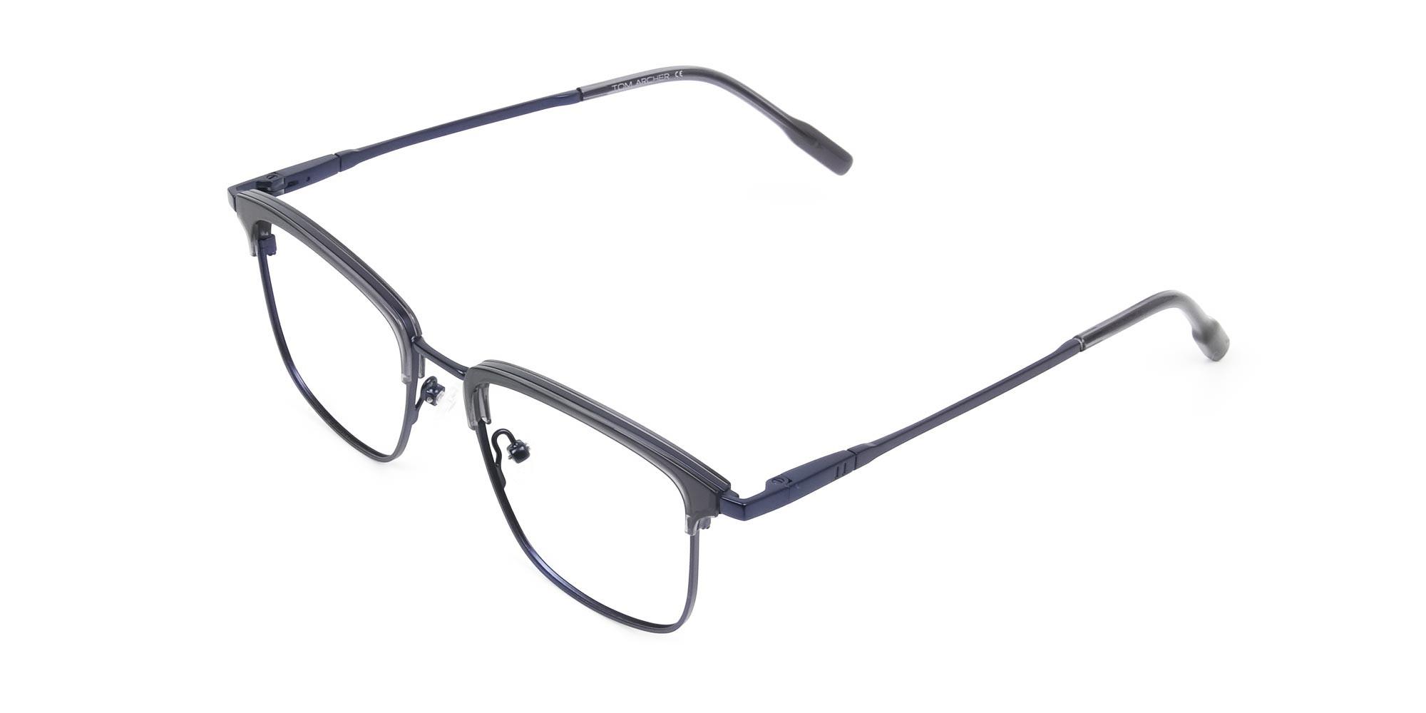 Navy Blue & Matt Black Glasses in Metal Browline & Square - 3