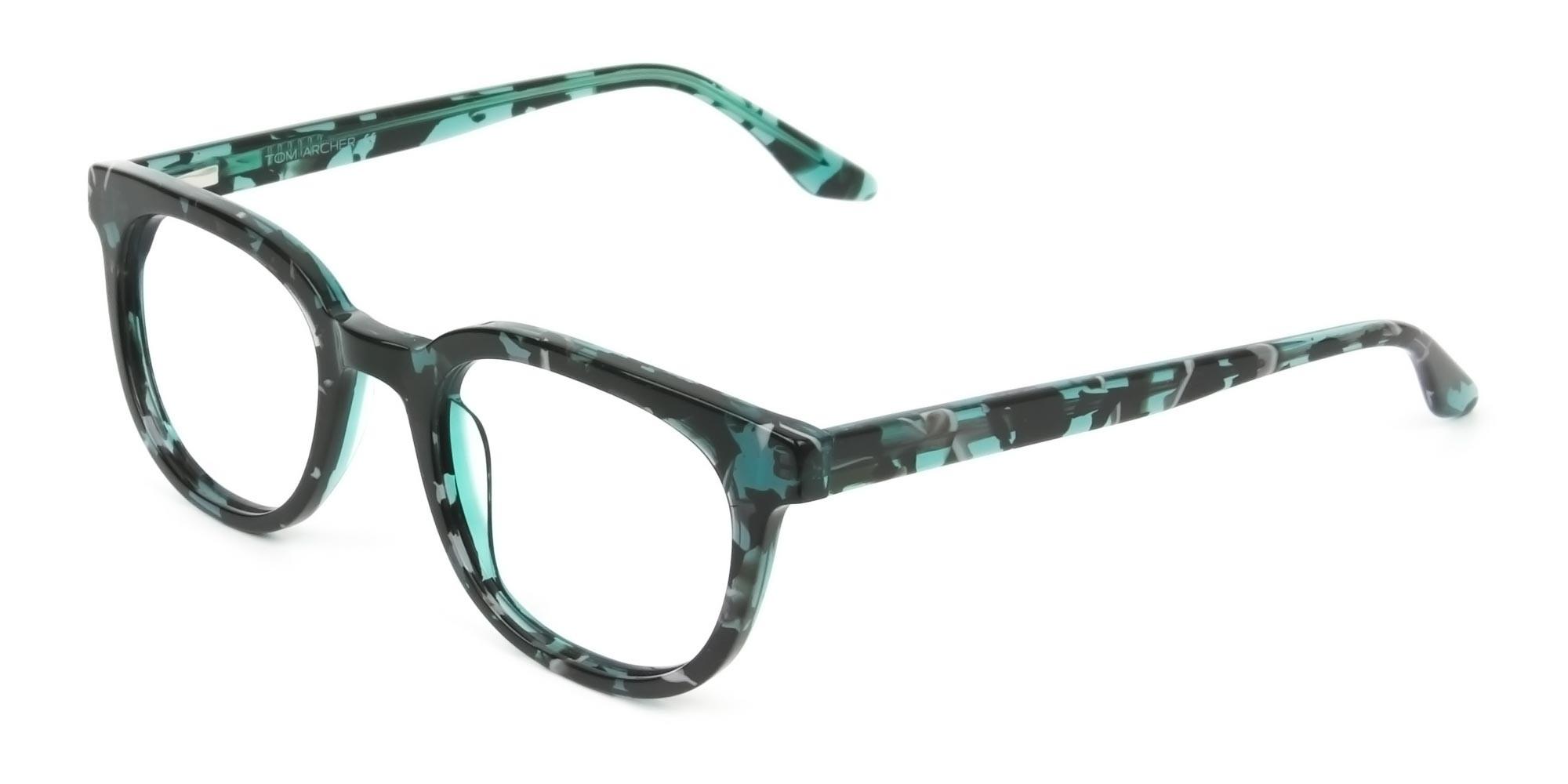 Hipster Tortoise Turquoise Green Wayfarer Frame Glasses - 3