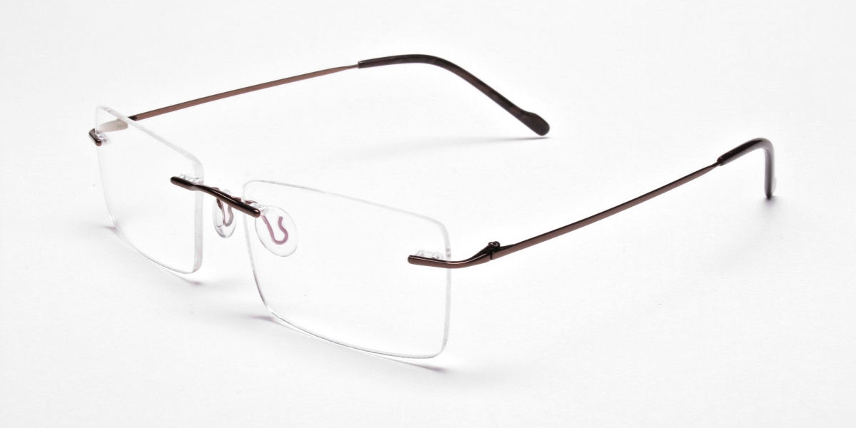 Rimless Glasses in Brown for Men & Women -3