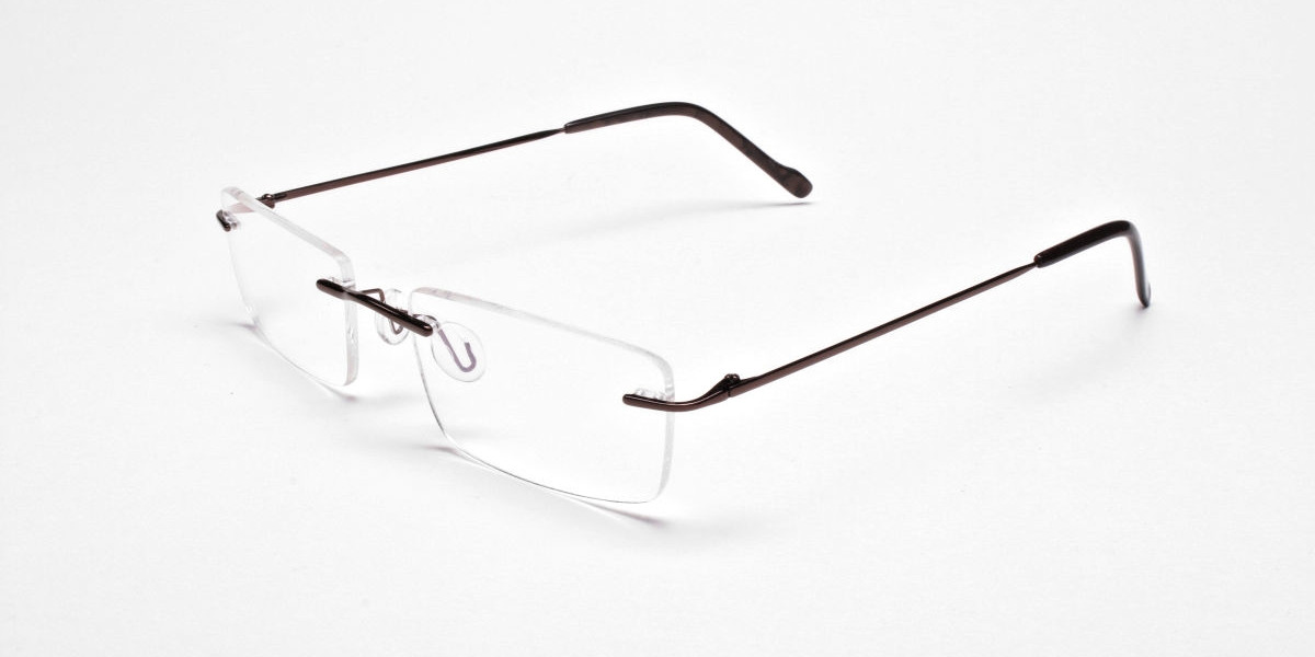 Rimless Glasses in Brown for Men & Women - 3