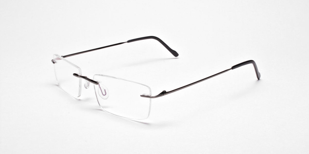Rimless Glasses in Gunmetal - 3