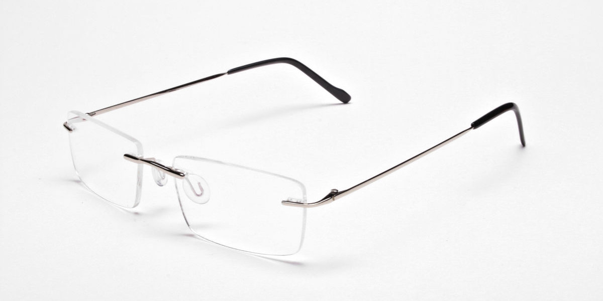 Rimless Glasses in Silver for Men & Women - 3