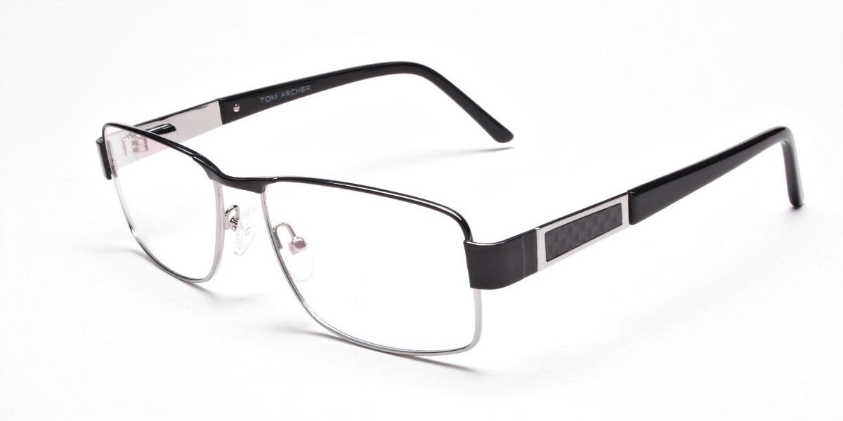 Rectangular Glasses in Black & Silver for Men & Women -3
