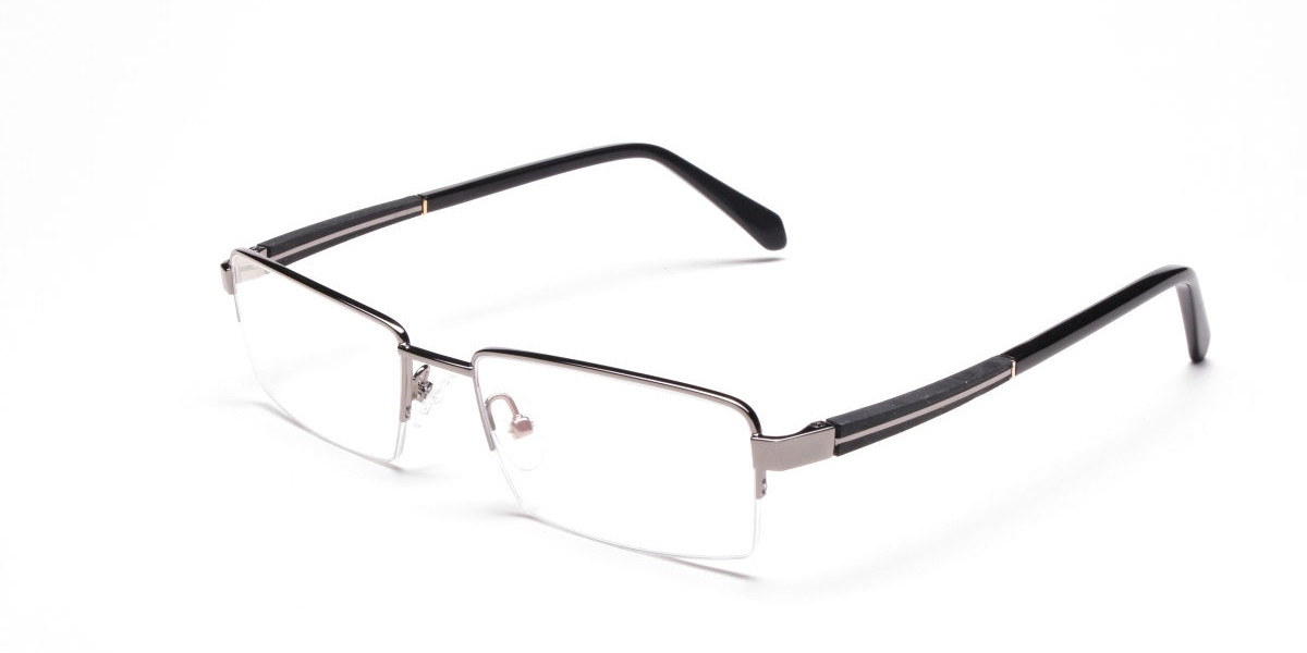 Gunmetal Rectangular Glasses, Eyeglasses -3