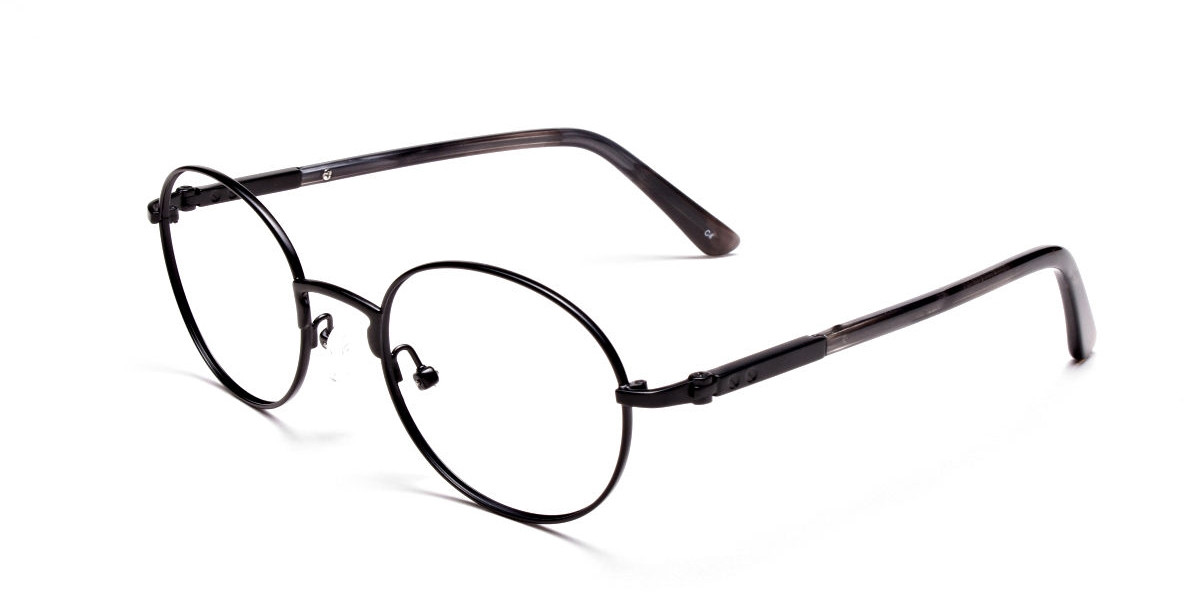 Round Glasses in Black, Eyeglasses - 3