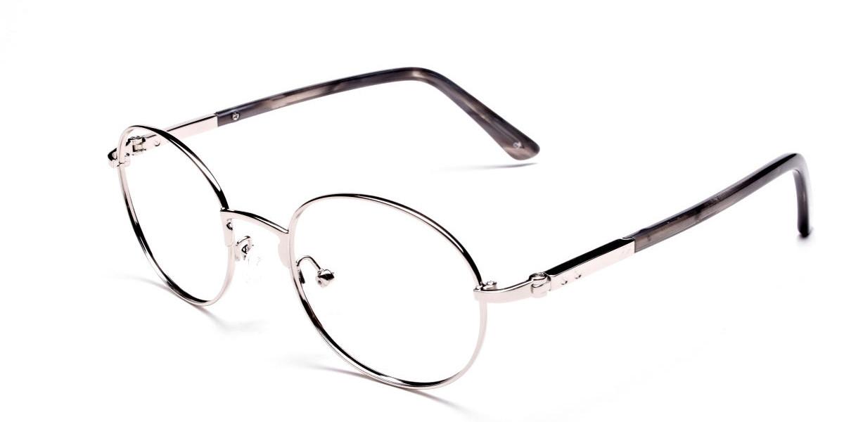 Round Glasses in Silver, Eyeglasses - 3