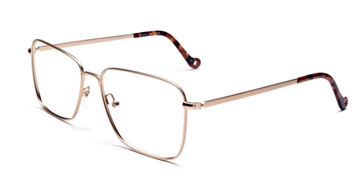 Gold Tortoiseshell Rectangular Glasses, Eyeglasses -3