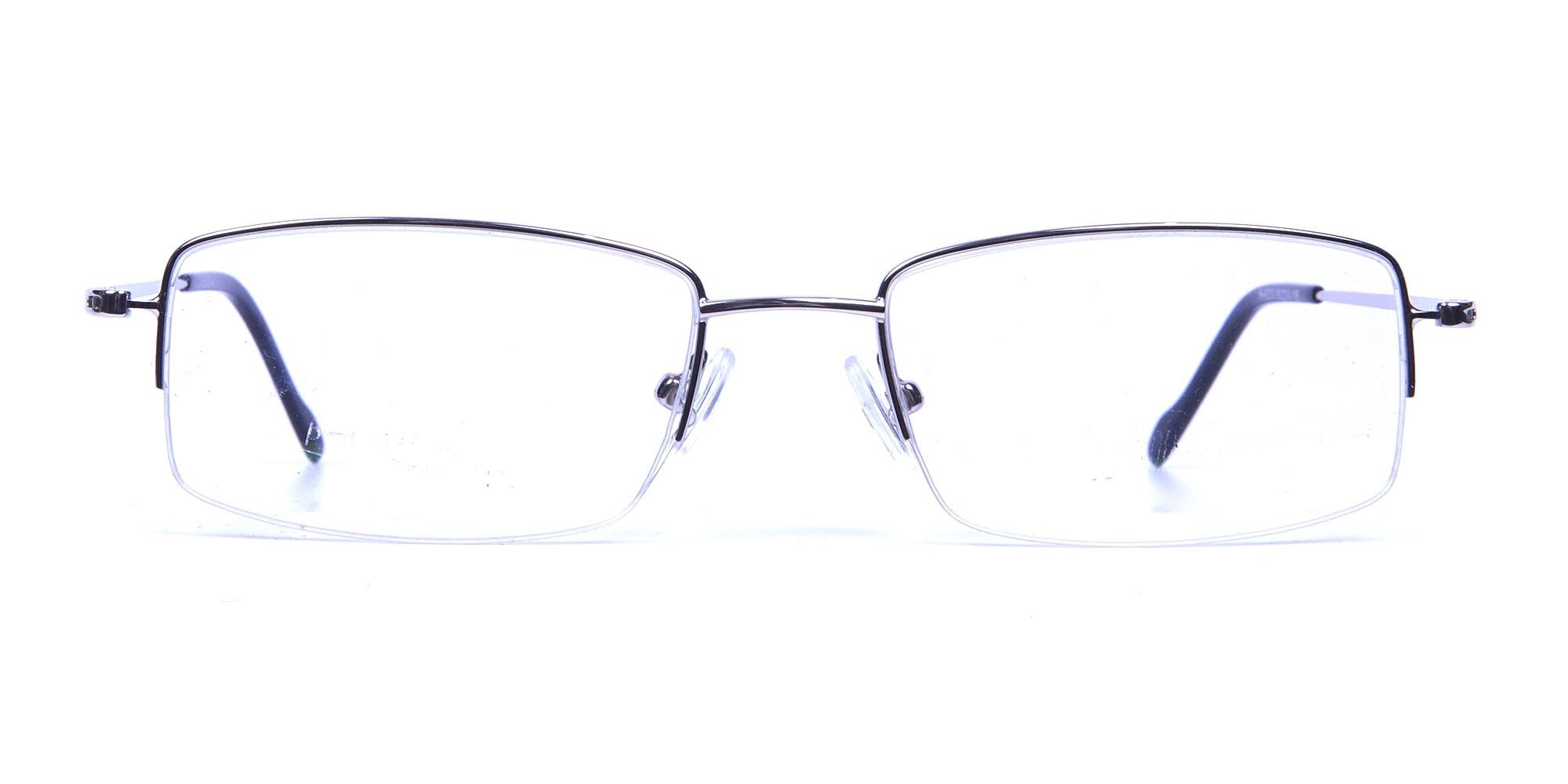 Rectangular Eyeglasses in Silver, Eyeglasses - 1