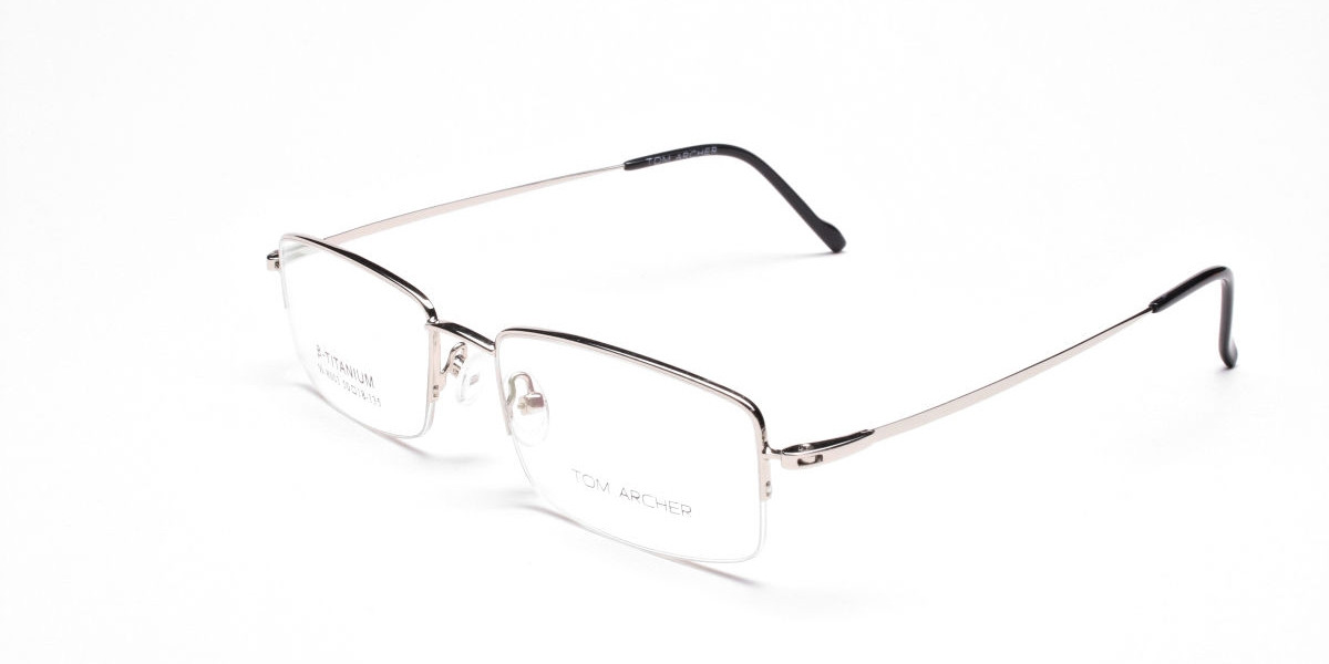 Rectangular Eyeglasses in Silver, Eyeglasses - 3