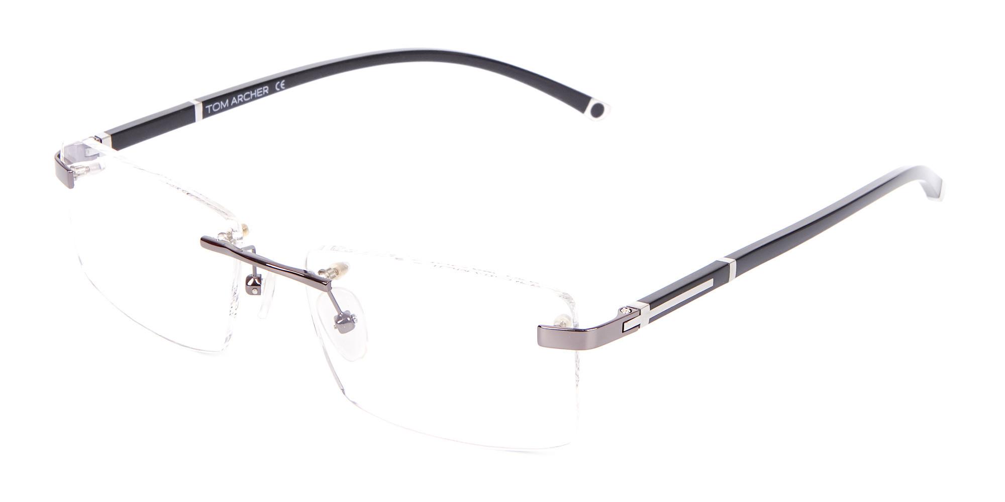 Gunmetal Rimless Glasses For Formal Style-3