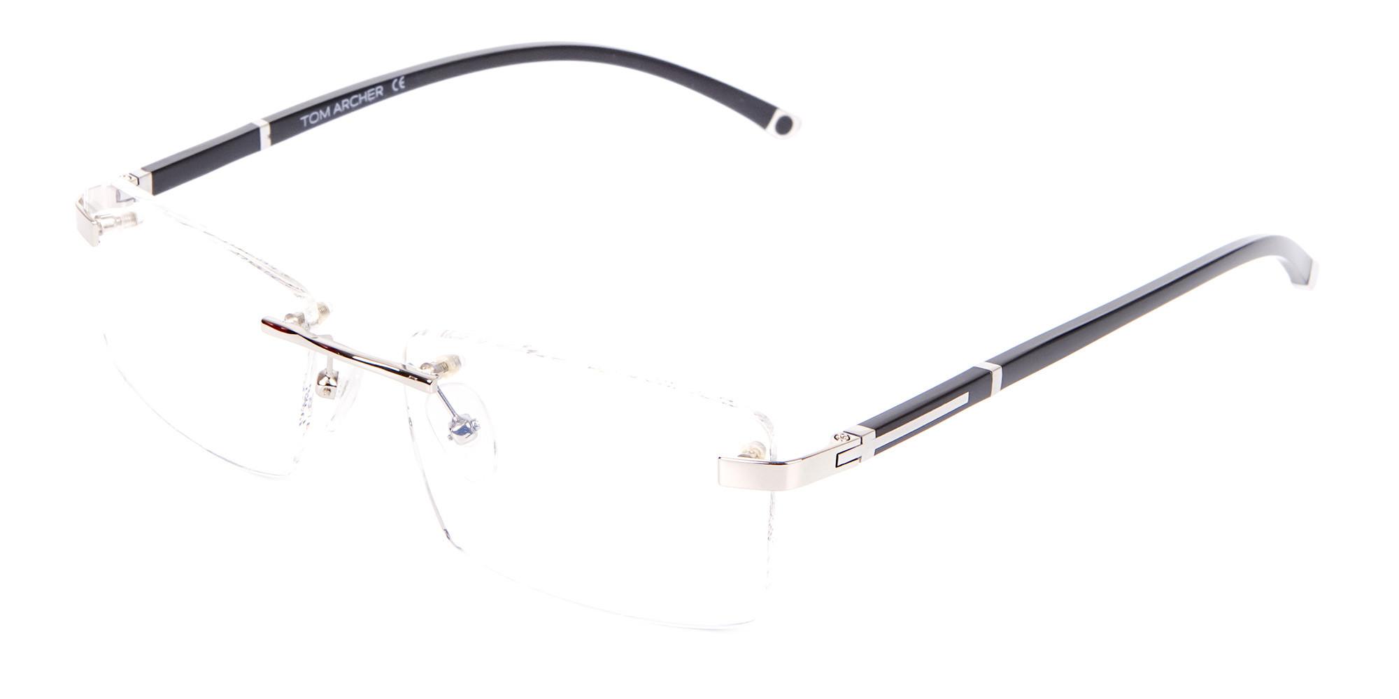 Silver Rectangular Rimless Glasses, Online UK-3