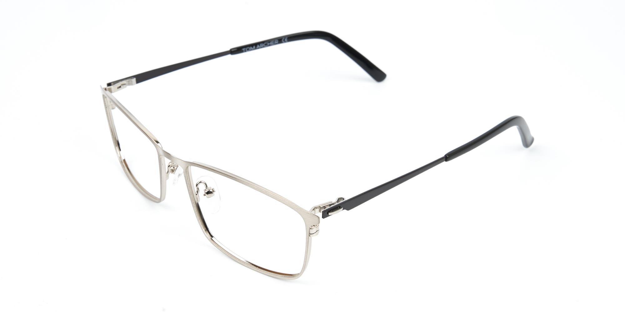 Silver Full-Rimmed Rectangular Glasses-3