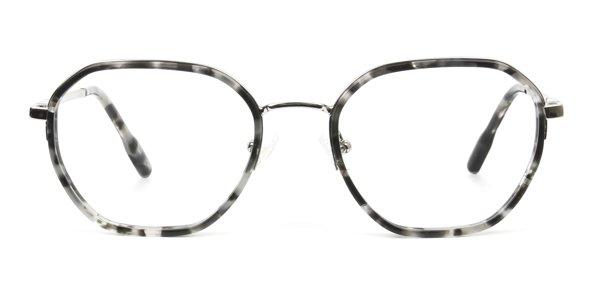 Black Grey Tortoise Geometric Glasses - 1