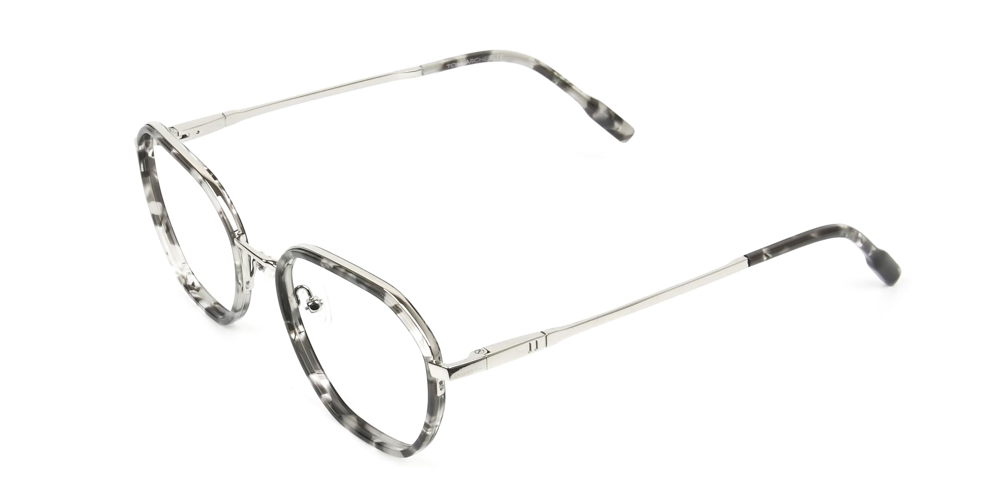 Black Grey Tortoise Geometric Glasses - 3