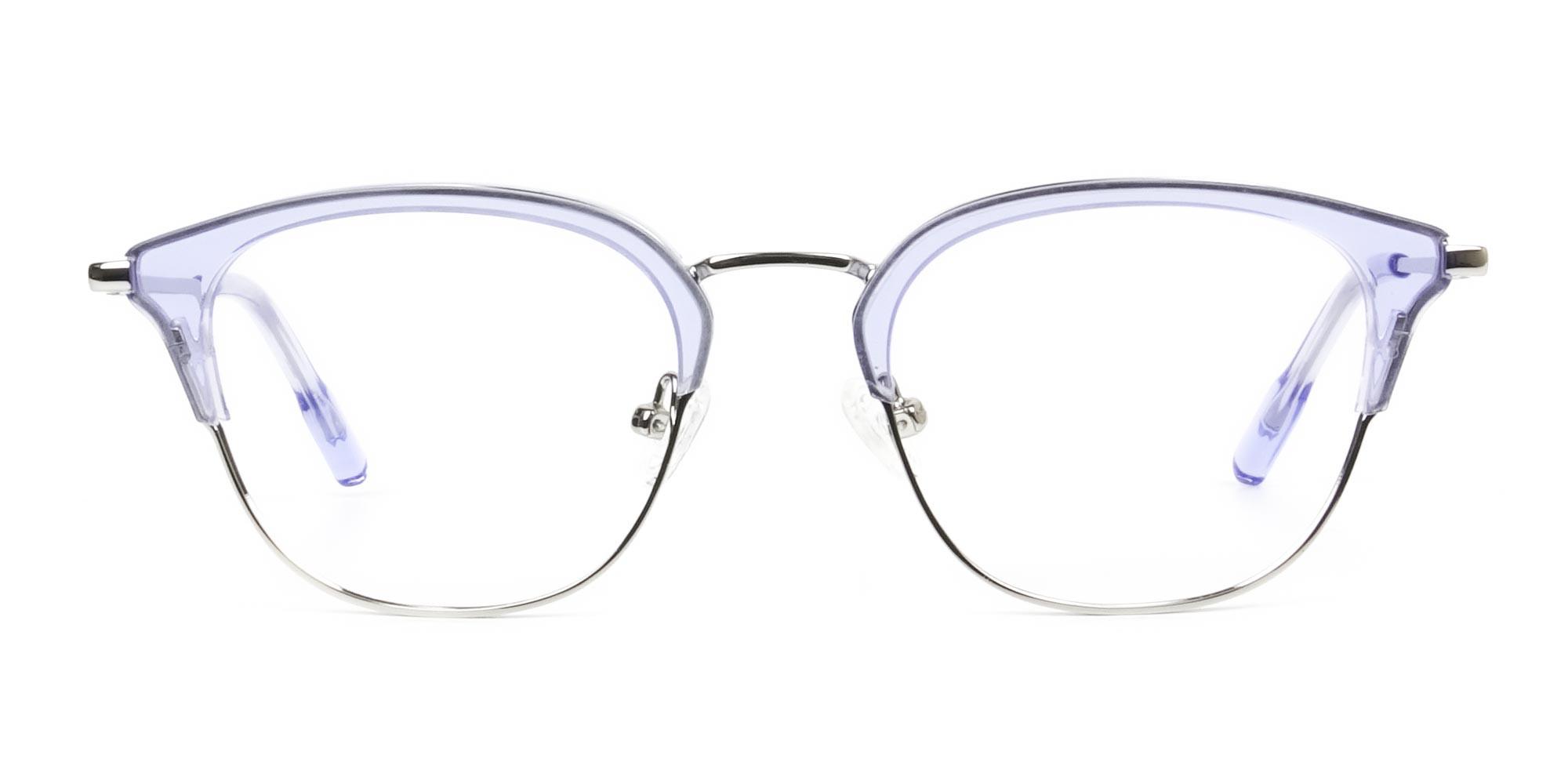 Silver & Crystal Periwinkle Purple Glasses - 1