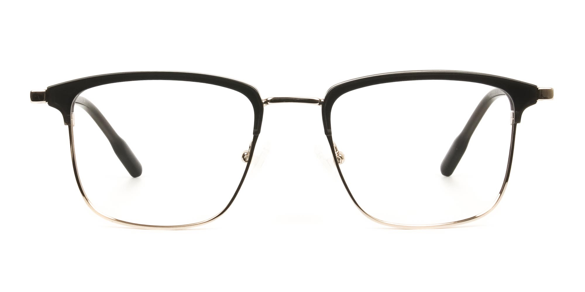 Shining Black and Gold Glasses in Browline Square