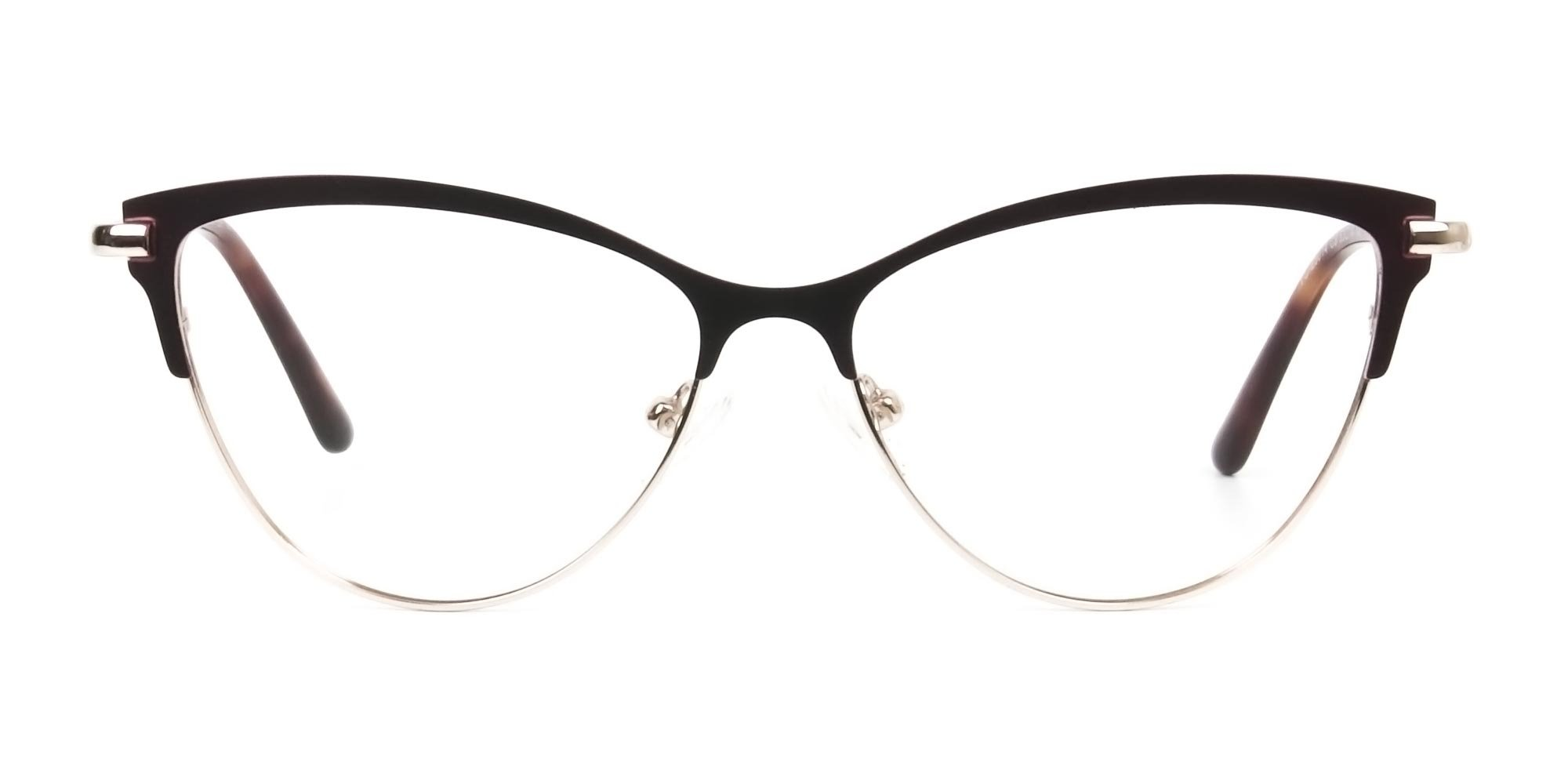 Burgundy Red and Gold Metal Cat Eye Glasses