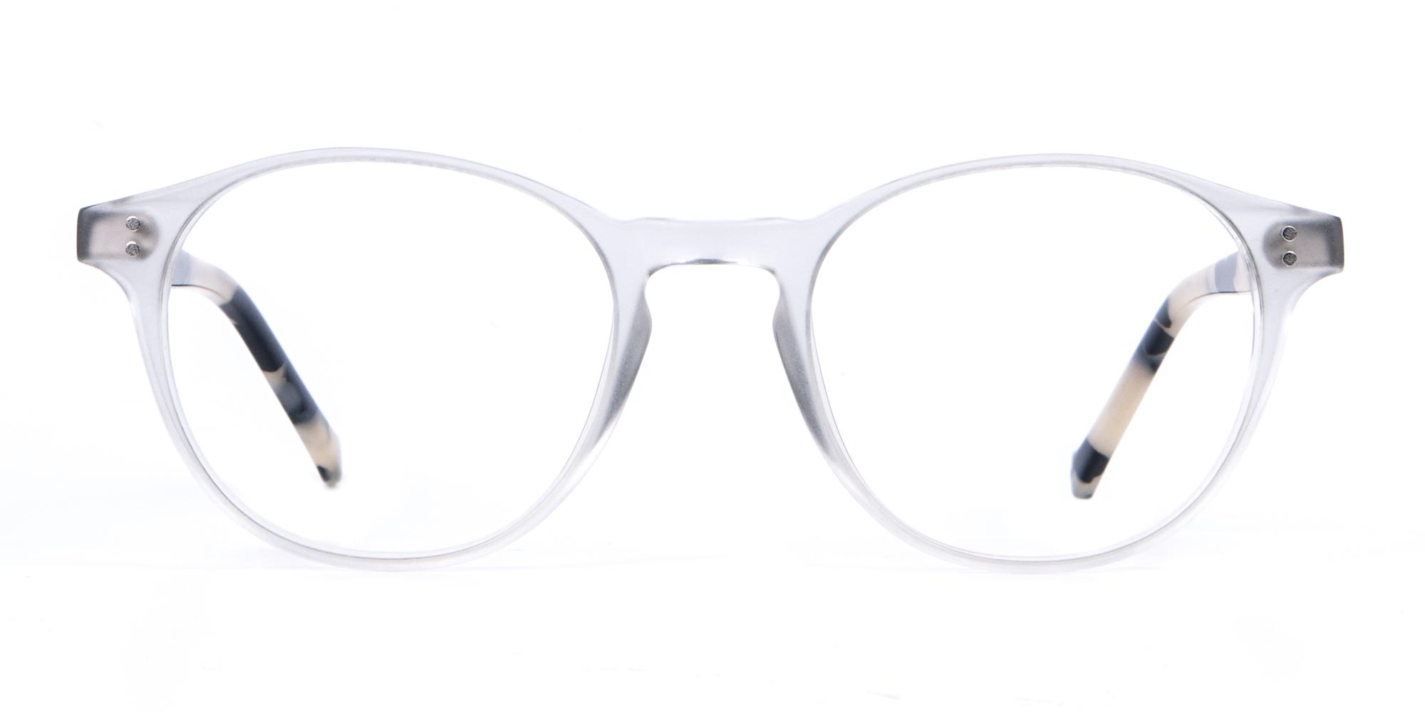 Crystal Clear Glasses in Round with Milky Tortoise Temple