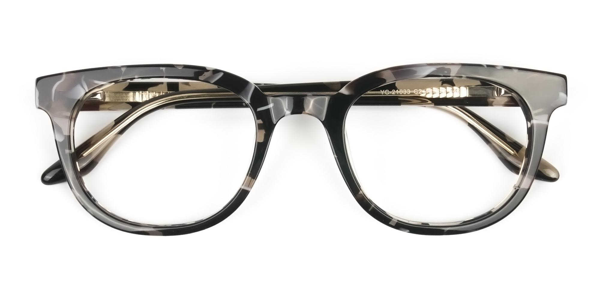 Hipster Thick Frame Camouflage Khaki Eyeglasses