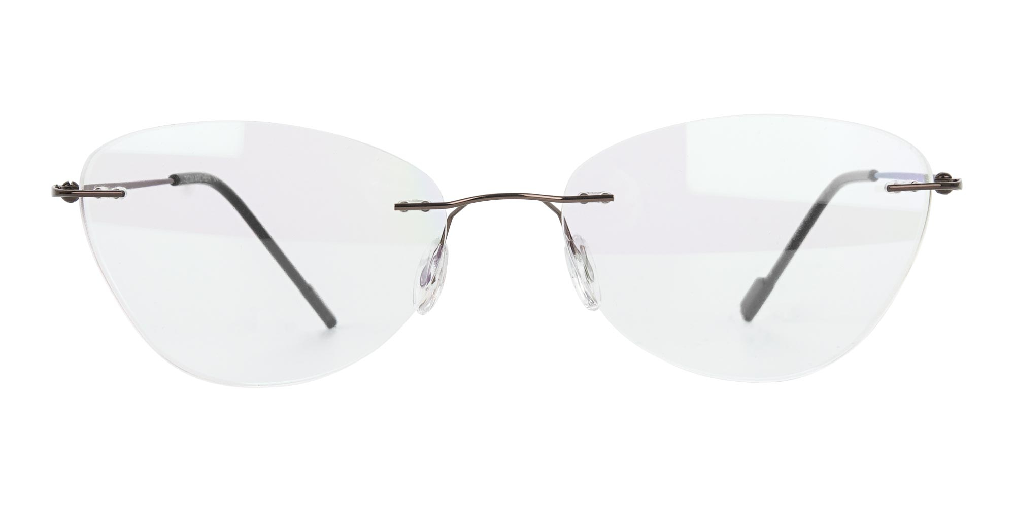 Rimless Cat-Eye Glasses in Brown Metal