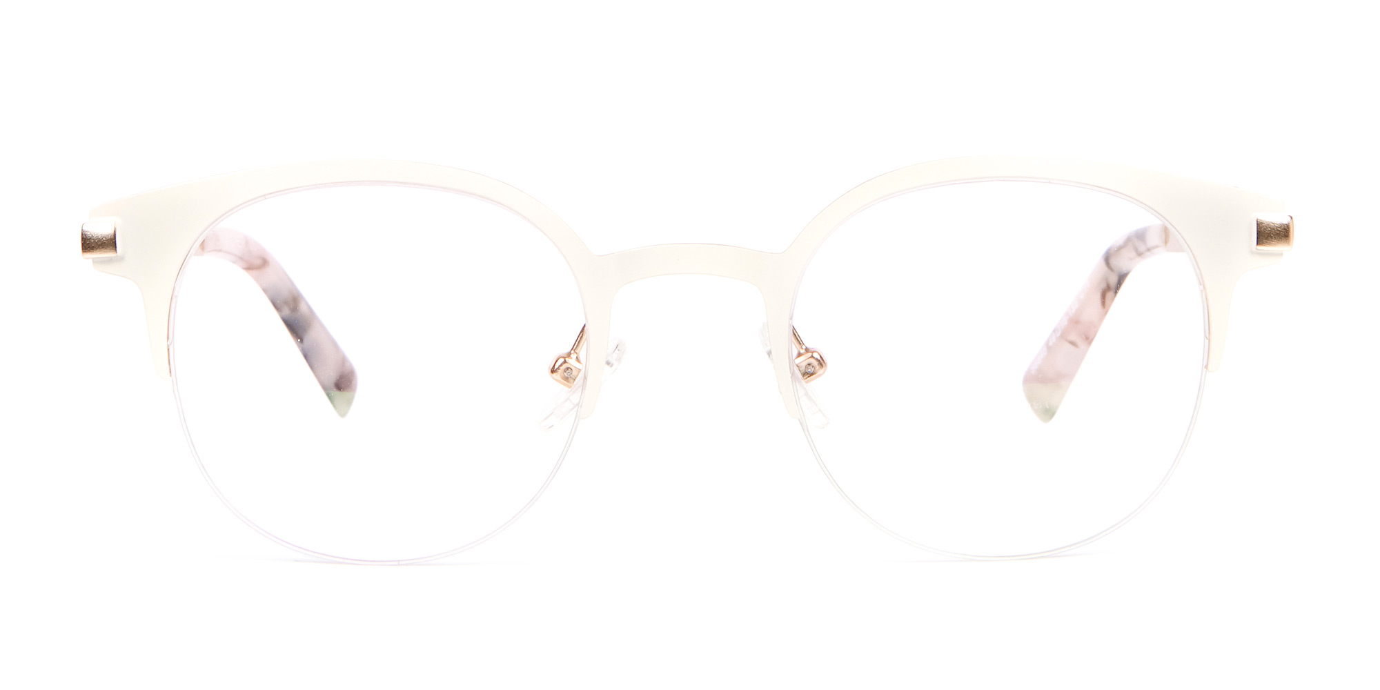 Cream White Retro Round Browline Glasses