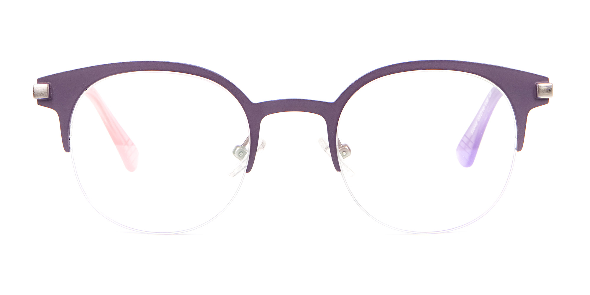 Violet Purple Browline Glasses in Half-Rim