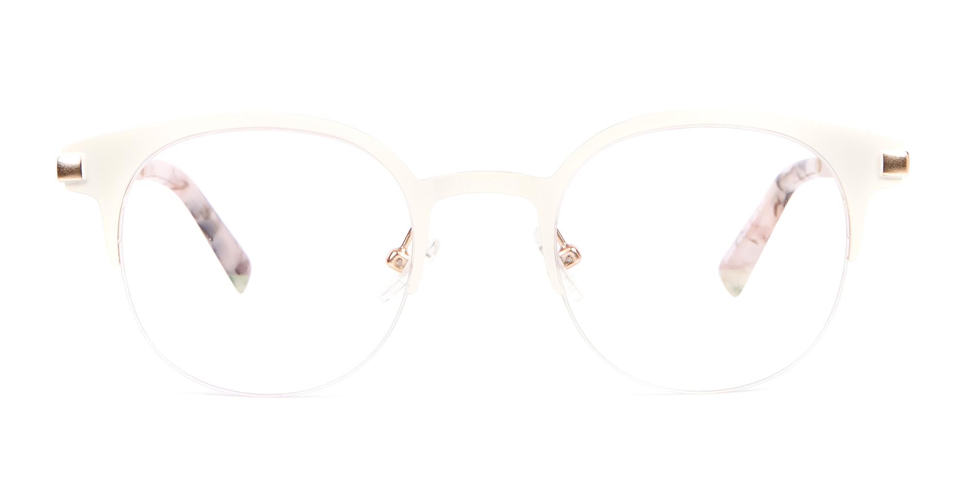 Cream White Retro Round Glasses for oval shape
