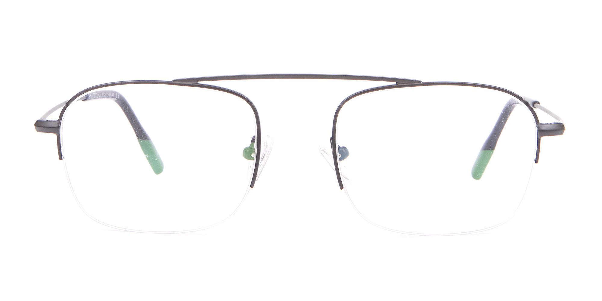 Black Half-Rimmed Glasses Frame in Wayfarer