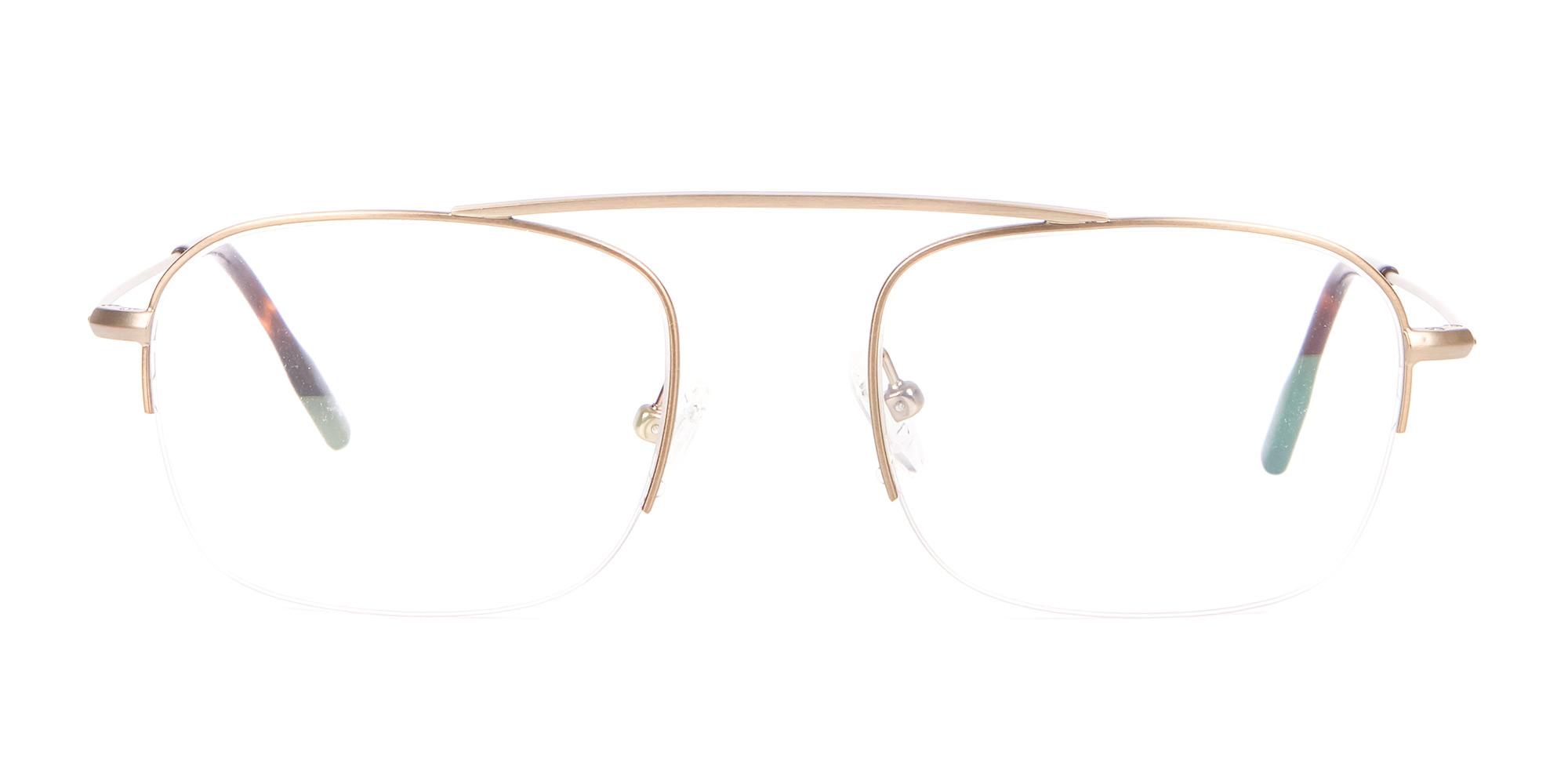 Gold Metal Half-Rimmed Glasses for triangle face shape