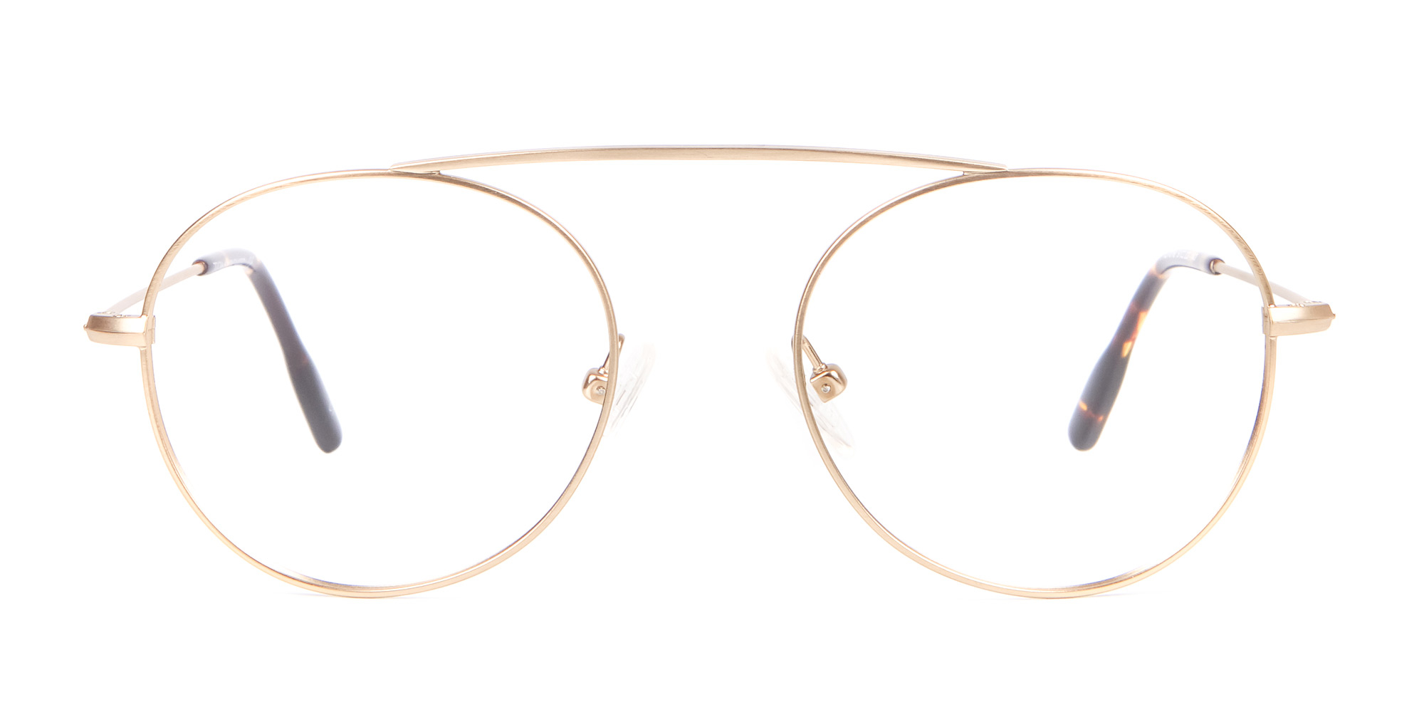 Gold Bridgeless Glasses in Retro Round Frame