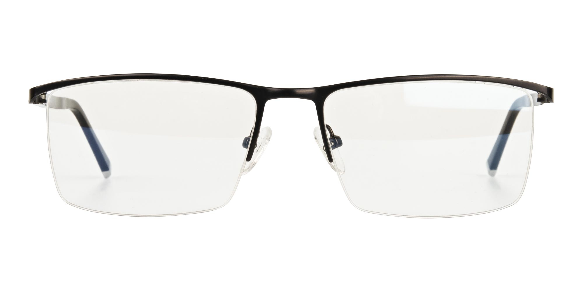 Black Semi-Rimless Glasses for oval face shape
