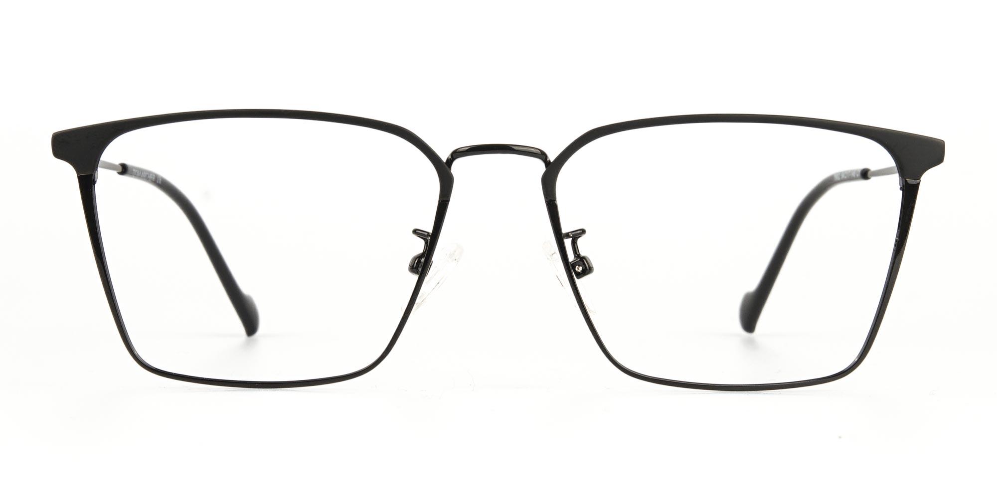 Black Wayfarer Glasses in Lightweight Metal