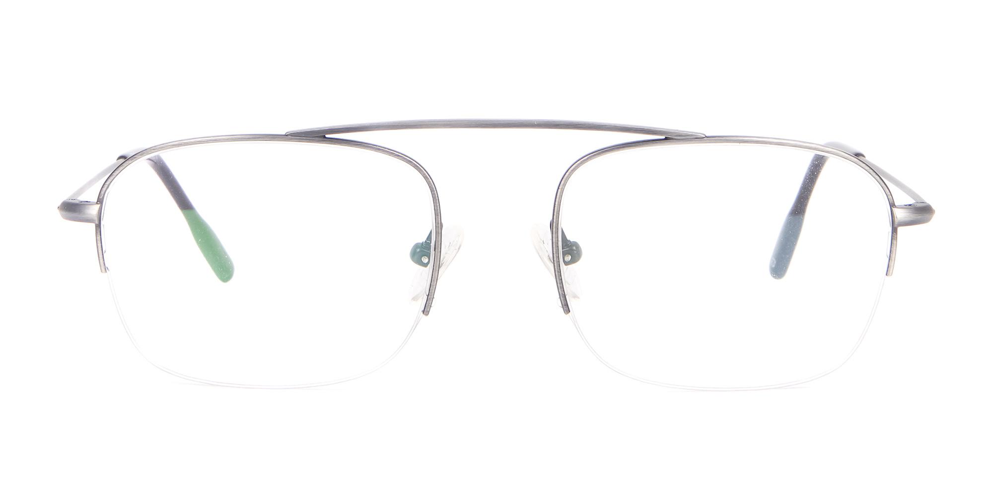 Silver Semi-Rimless Frame Bridgeless
