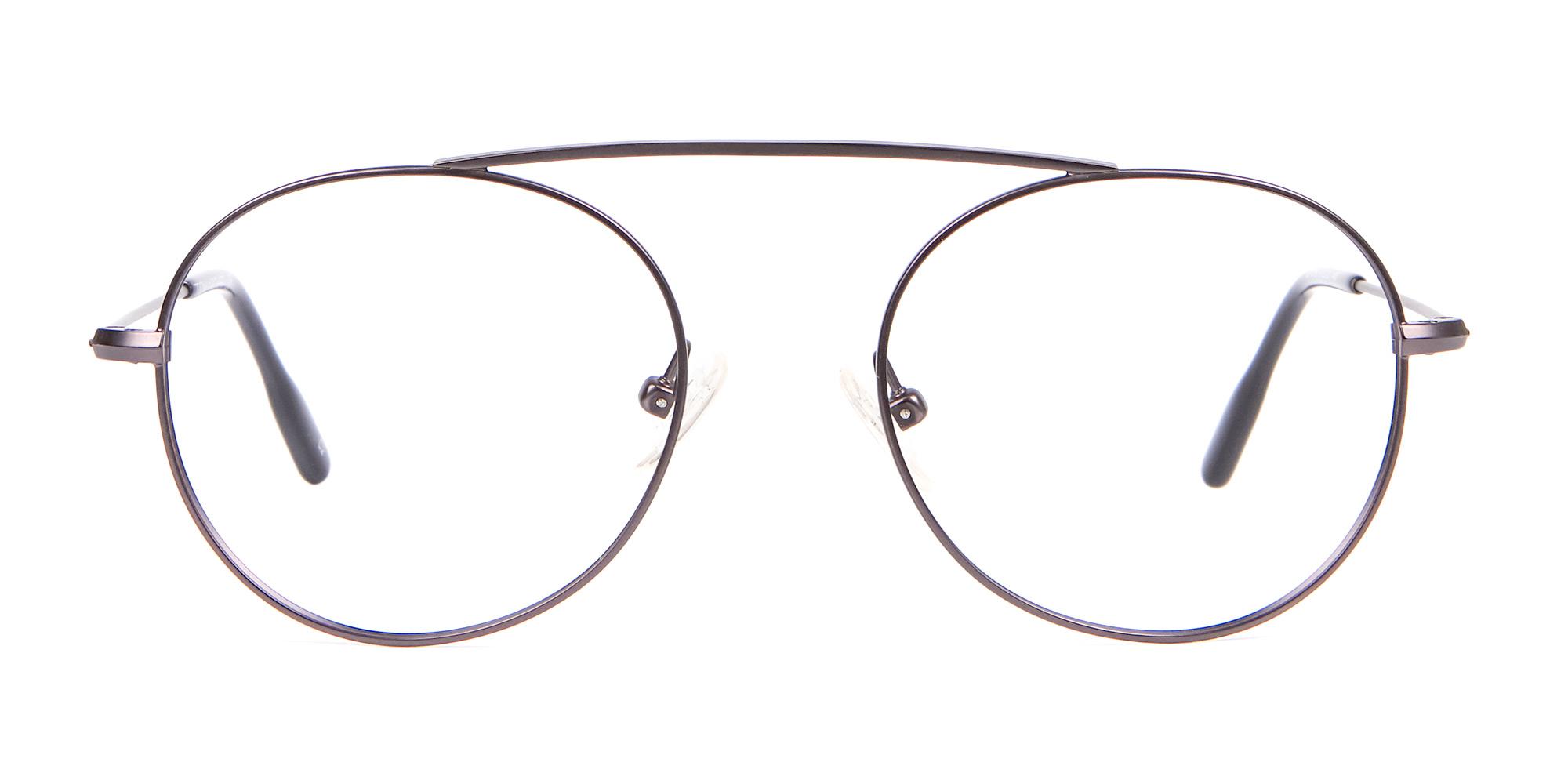 Dark Gunmetal No Bridge Glasses