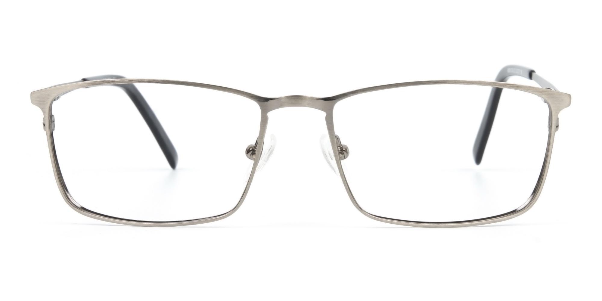 Gunmetal Rectangular Glasses with Black Temple