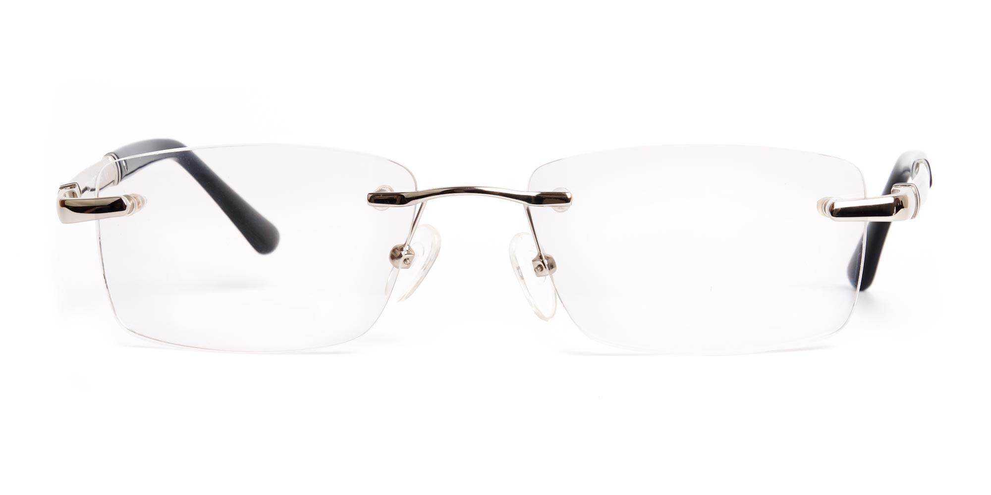 Silver Rectangular Rimless Glasses