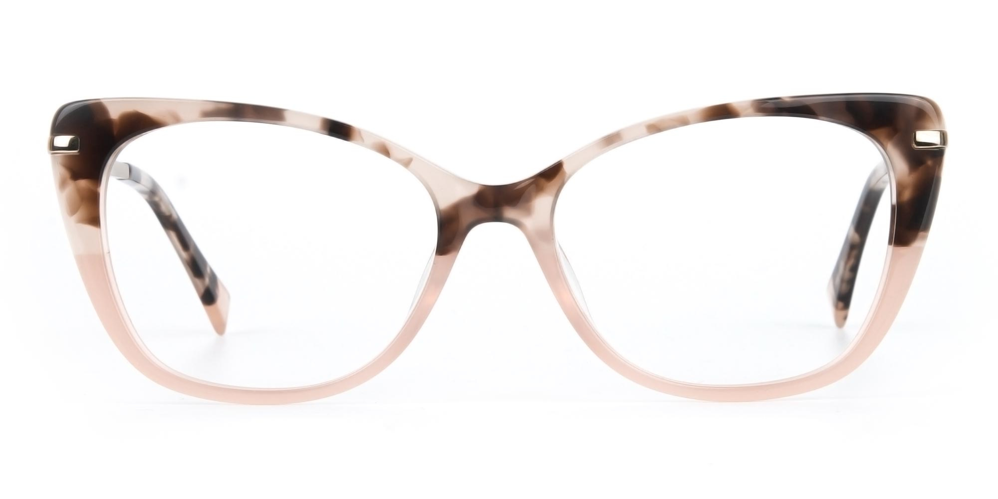 Tortoise and Rosy Pink Cat-Eye Glasses for diamond face shape