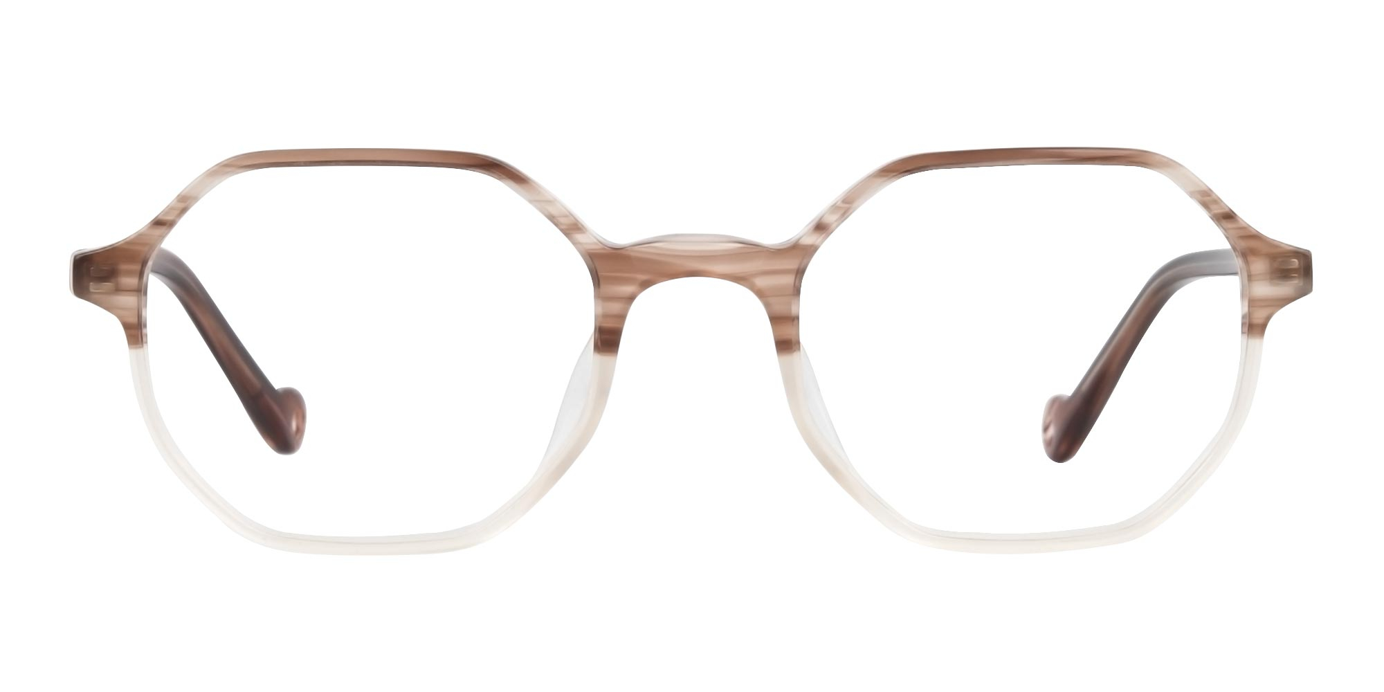 Stripe Brown and Nude Octagonal Glasses trends 2020