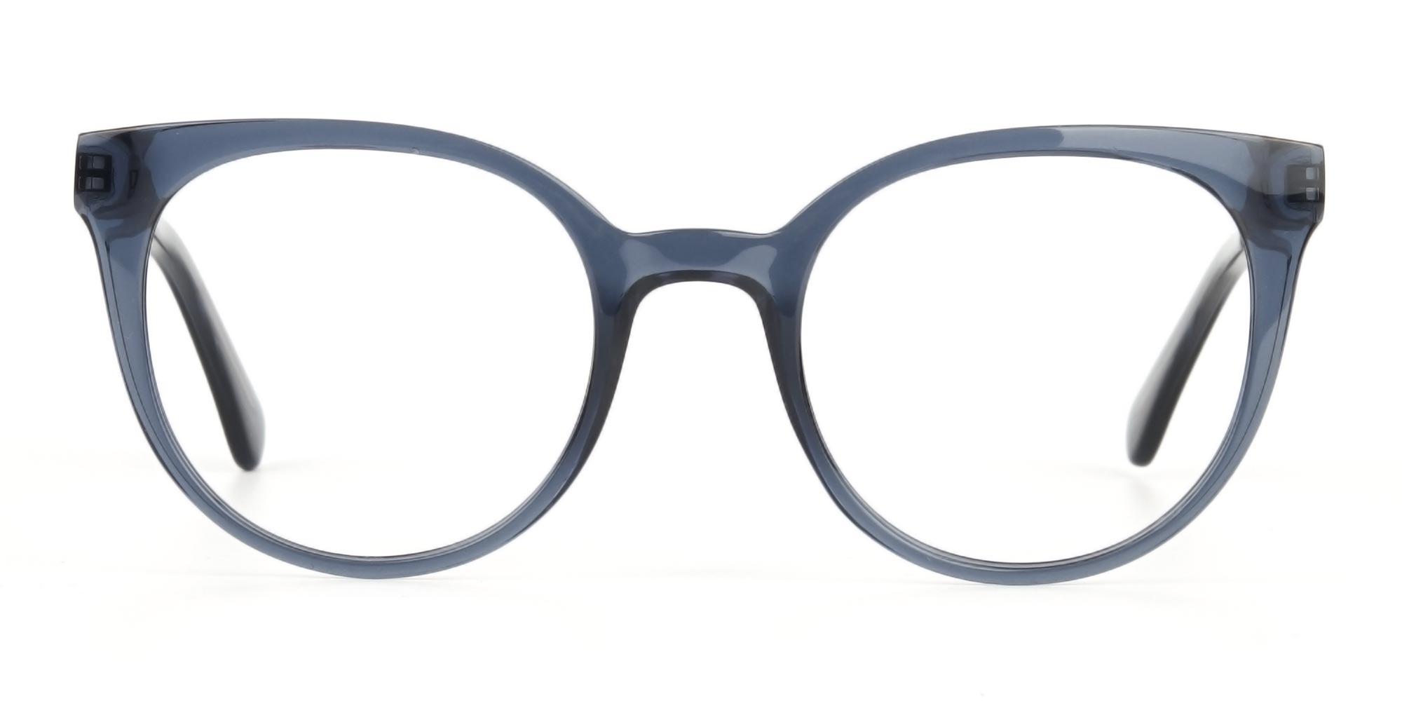 Crystal Grey Round Cat-Eye Glasses