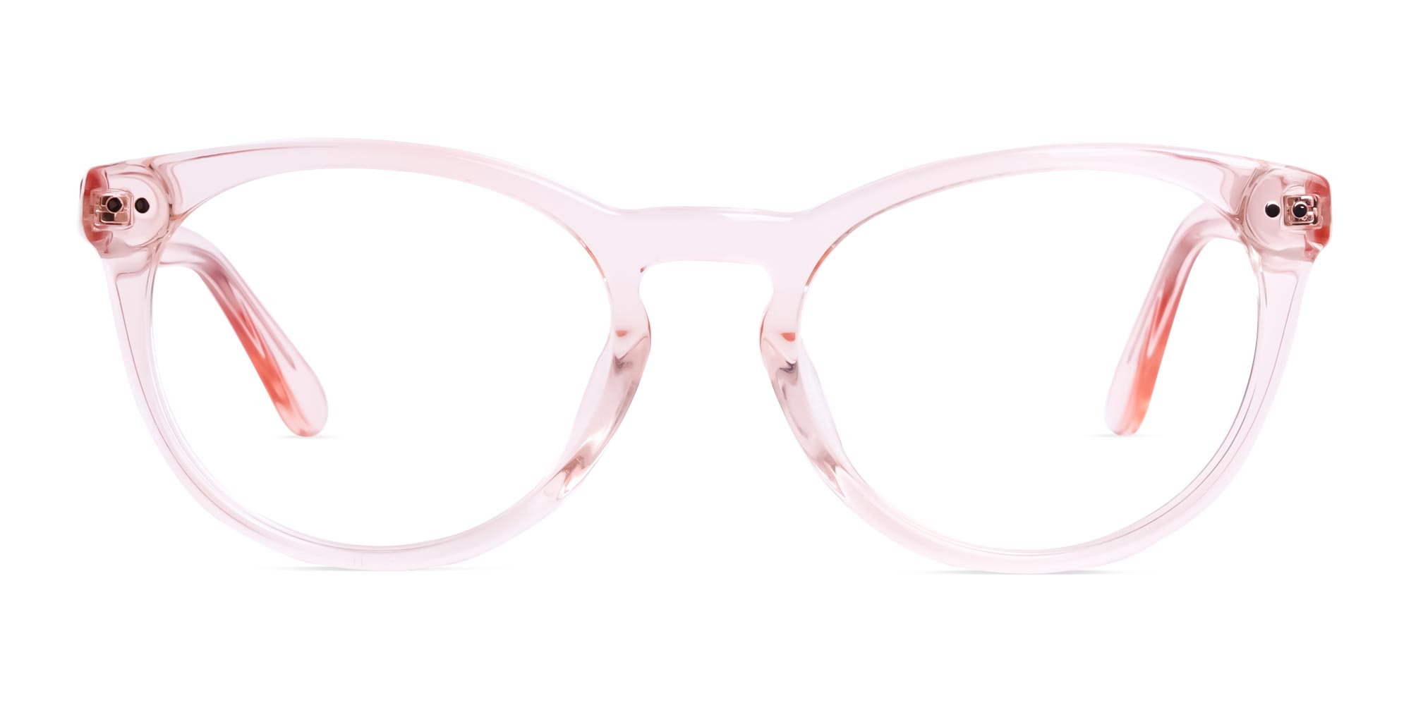 Nude Pink Transparent Round Glasses
