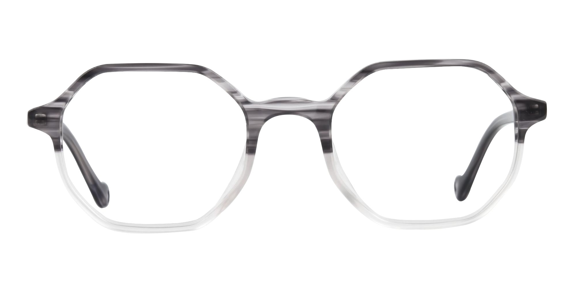 Octagon Glasses in Milky Grey with Stripe