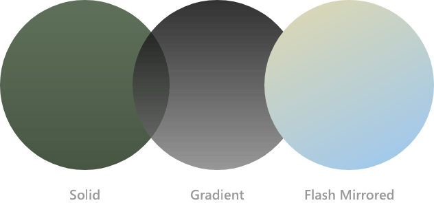 Sunglasses Lens colors - solid, gradient, and flash mirriored